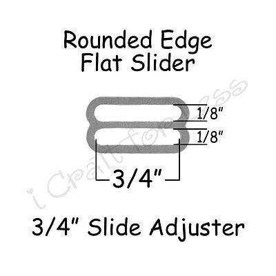 """25 Slide Adjusters* / Tri Glides for Bow Tie Adjustable Straps - 3/4"""" Silver"""