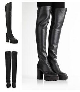 Para-Mujer-Damas-encima-de-la-rodilla-tirar-de-muslo-de-tacon-alto-amplio-tramo-Botas-Talla-Zapato