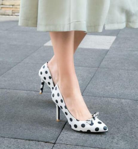 Women Pointed Toe Heels Shoes Polka Dot Mary Janes Stilettos Chic Court Shoes