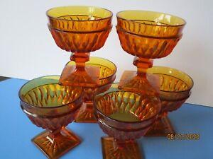 VINTAGE-6-Indiana-Park-Lane-Glasses-Amber-Square-Footed-Pedestal-Water-or-Wine