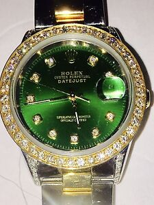 Details about ROLEX MENS WATCH ,100% AUTHENTIC, GREEN FACE, DATE JUST