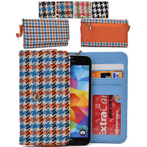 KroO-ECMT22-Houndstooth-Protective-Wallet-Case-Clutch-Cover-for-Smart-Phones