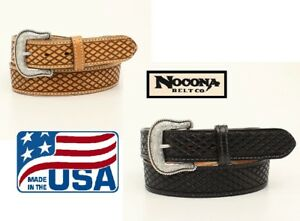 gt-MADE-IN-USA-BASKET-Leather-MAN-039-S-WESTERN-BELT-Silver-Buckle-NOCONA-N23003