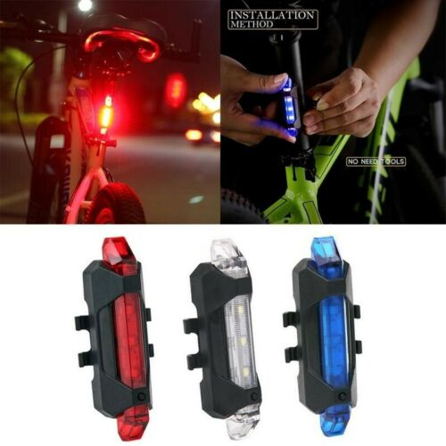 5 LED USB Rechargeable Bike Tail Light Bicycle Safety Cycling Warning Rear Lamp
