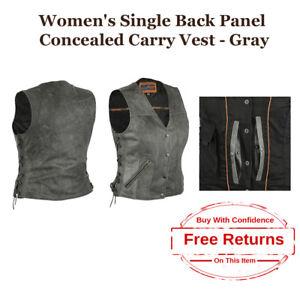 Leather Womens Premium Ccw Through Gray xs Genuine Vest Motorcycle 5xl 7qn7WxCa