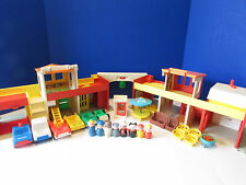 Vintage Fisher Price Little People Village Lot Fire Truck Police Car Boy Girl