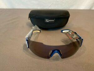 Serfas Aspect Blue/White Cycling Bike Sunglasses w/Gray Lens & Case NEW
