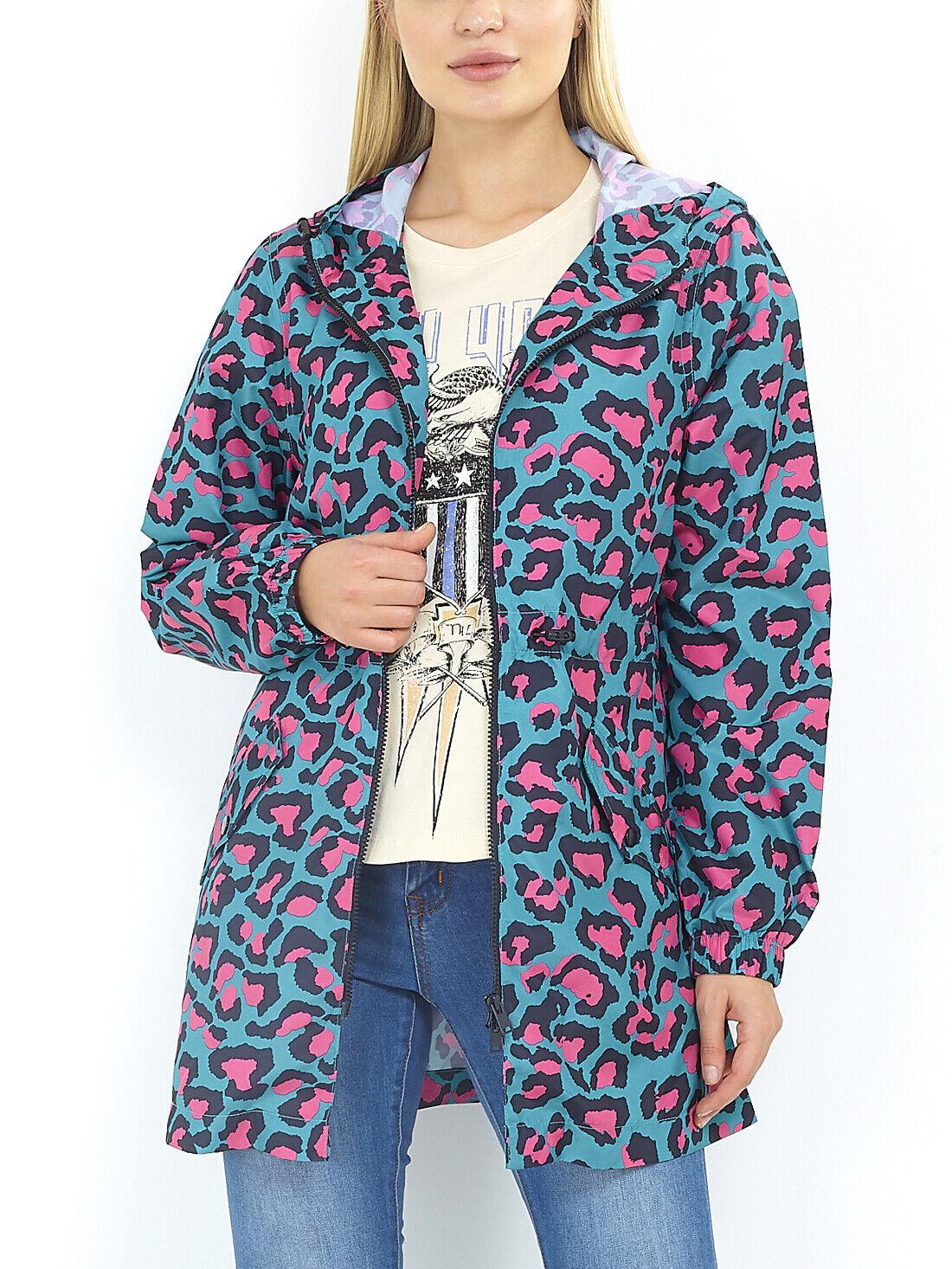 New Womens Showerproof Leopard Print Hooded Rain Mac Lightweight Coat Sizes 8-16