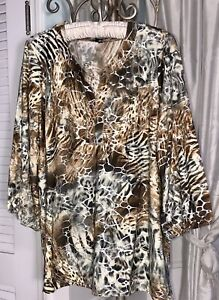 NEW Plus Size XL Brown Black Blouse Leopard Animal Print Top Silver Shirt
