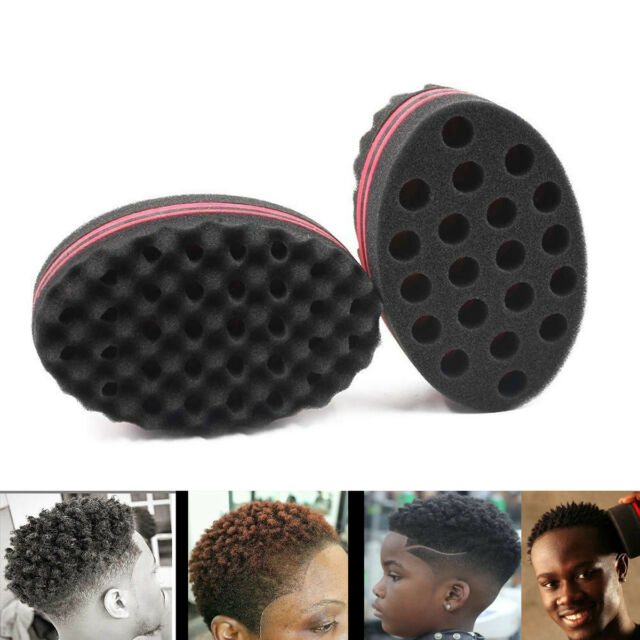 3 pc Double Sided Barber Hair Brush Sponge Dreads Locking Twist Coil Afro Waves