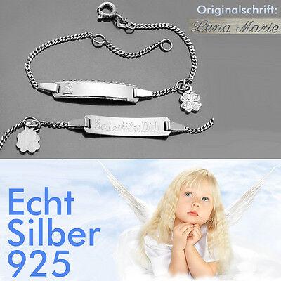 Namen Gravur Silber Baby Schutzengel Armband Gott schütze Dich mit Klee Blatt