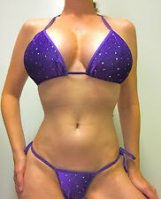 NEW STRIPPER/EXOTIC DANCER PURPLE VELVET/GLITTER/SEQUIN THONG BIKINI C/D TOP