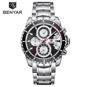 BENYAR-Men-039-s-Quartz-Wrist-Watch-Luxury-Stainless-Steel-Band-Military-Watches