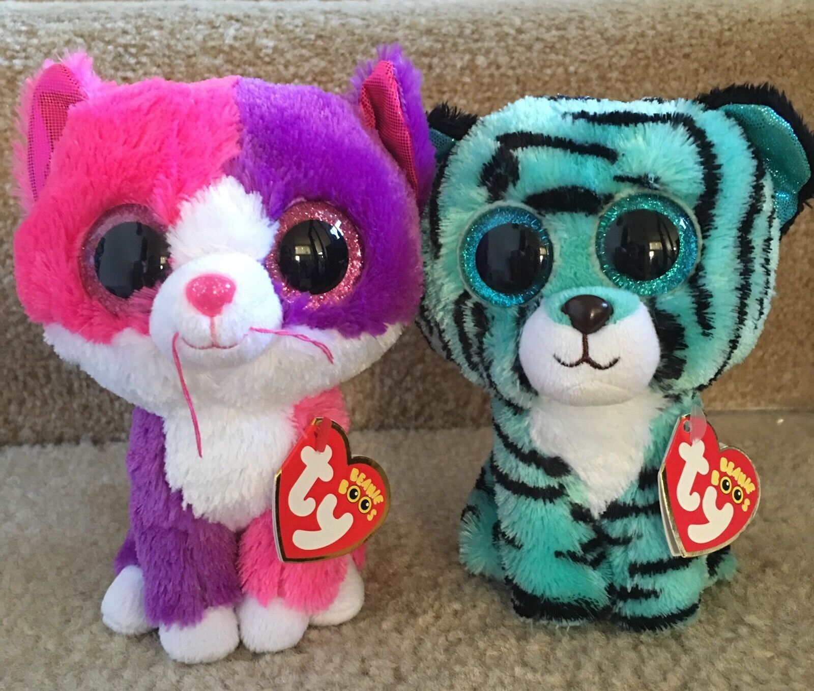 Ty Beanie Boos 6  Exclusives,Tess Justice Tiger, Pellie Claire's Cat, NEW & Mint