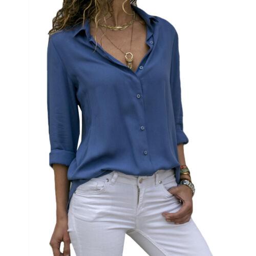 Damen Hemdbluse Langarm Business Slim  V-Ausschnitt Hemd Bluse Shirt Knöpfen Top