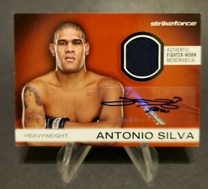 2012 Topps UFC Knockout Fighter Relics Autographs Red #AFG-AS Antonio Silva 6/8