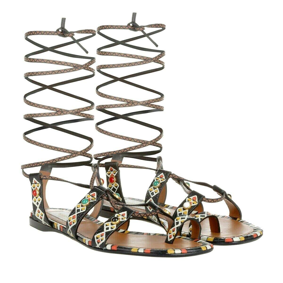 1150 VALENTINO GARAVANI Hand-Painted AFRICAN TRIBAL Gladiator Sandal Sandal Sandal EU37 US-7 a5f496