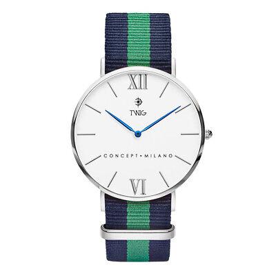 Reloj hombre/mujer TWIG HARING plata/blanco clásico militar minimal