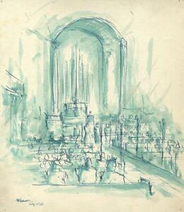 Robert Warren ARIBA, Church Wedding Congregation – 1948 pen & ink drawing