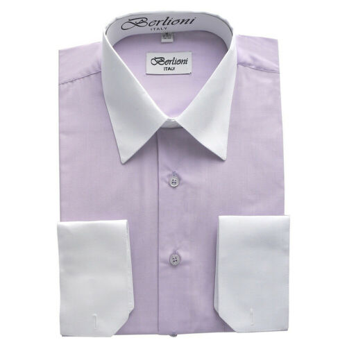 Berlioni Men/'s Regular Fit Two Tone Dress Shirt Lilac