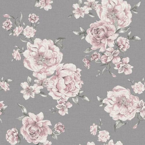 Holden Decor Peony Pink Dark Grey Floral Wallpaper Roses Leaf Flowers Painterly