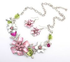Enamel Flower Leaves Crystal Rhinestone Chain Necklace Earrings Jewelry Set Gift