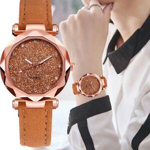 Glitter-Sparkling-Women-039-s-Wrist-Watch-Rose-Gold-Leather-Bracelet-Ladies-Watches