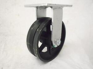 "6"" x 2"" Rigid Caster 7/8"" V-Groove Iron Steel Wheel 1000 lbs"