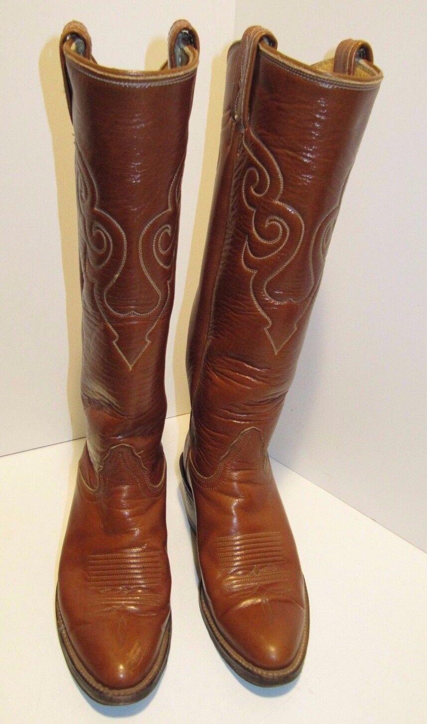 Tony Lama Braun Leder Knee High Western Cowboy Stiefel Größe 4.5 B Style 8316 USA