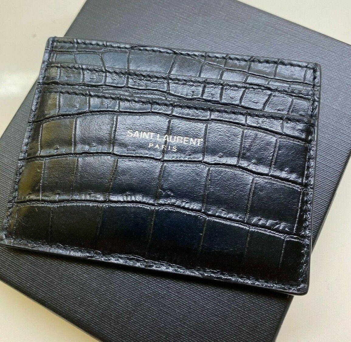 Appraised Saint Laurent YSL Leather Card Case crocodile textured Card holder