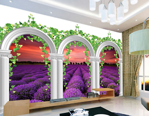 3D Sunset Lavender Field 64 Paper Wall Print Wall Decal Wall Deco Indoor Murals