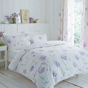 Fondo-blanco-de-Poli-Algodon-Con-Diseno-Floral-Purpura-Conjunto-de-Edredon-y-o-cortinas