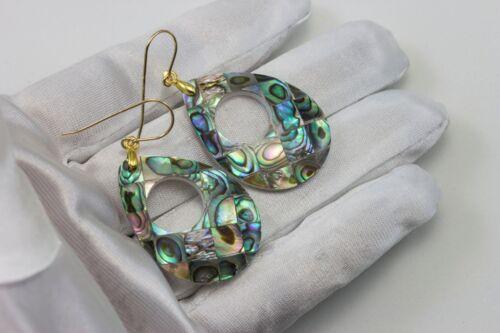 Abalone Shell Boucles d/'oreilles Larme Ovale Bleu Paon nacre 14k simple Gold Sterling
