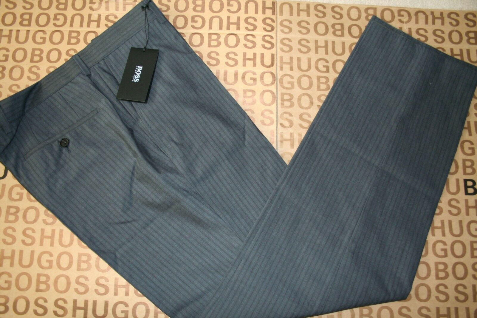 NEW HUGO BOSS MENS GREY SMART VIRGIN WOOL STRIPED SUIT SHIRT TROUSERS PANTS 34R