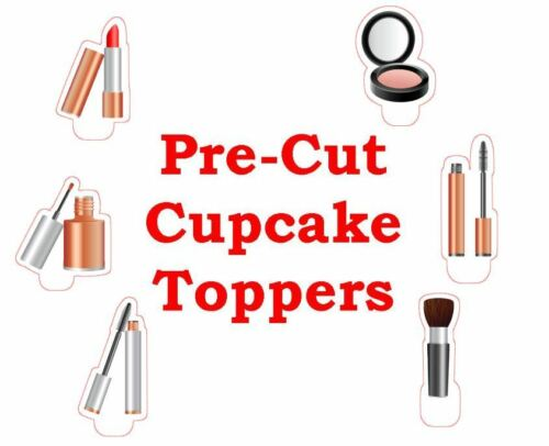 MAKE UP DIVA PEACH X24 edible stand up cup cake toppers wafer paper *pre-cut*