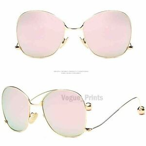 2f09bb36018 New OVERSIZED Rimless VINTAGE Style Clear Lens SUNGLASSES Upside Down Gold  Frame