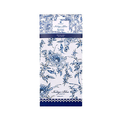 Ashdene Indigo Blue Tea Towel Hummingbird