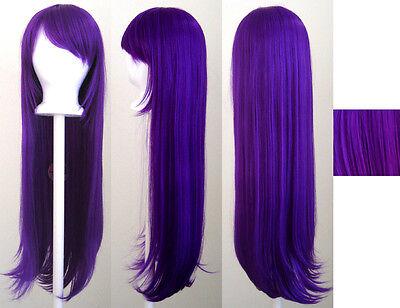 32'' Long Straight Long Bangs Indigo Purple Cosplay Wig