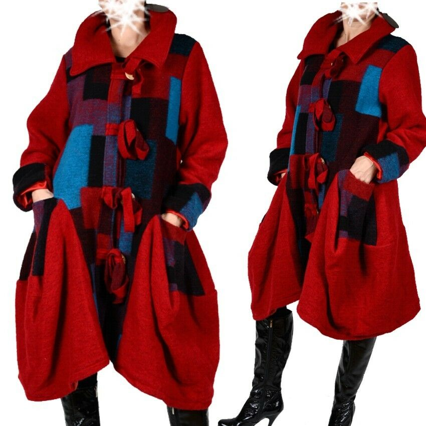 Patchwork Wool Layered Look Coat Trench Coat 40 42 44 46 48 Red M L XL XXL Warm
