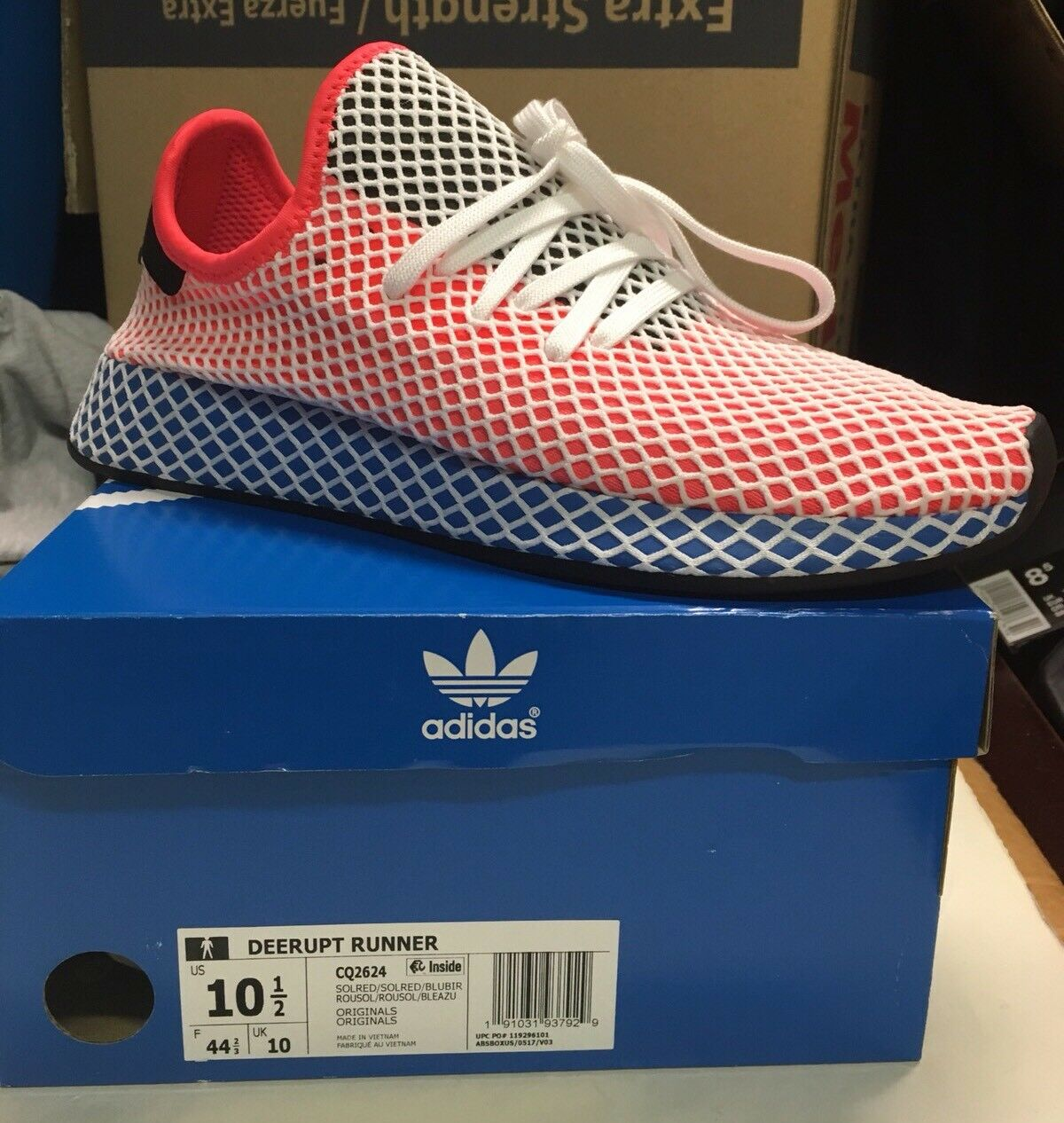 adidas men deerupt runner orange  solar red  bluebird Sz 10.5
