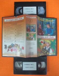 BOX 2 VHS film ROBIN HOOD L'ISOLA DEL TESORO Lo scrigno delle fiabe (F64) no dvd