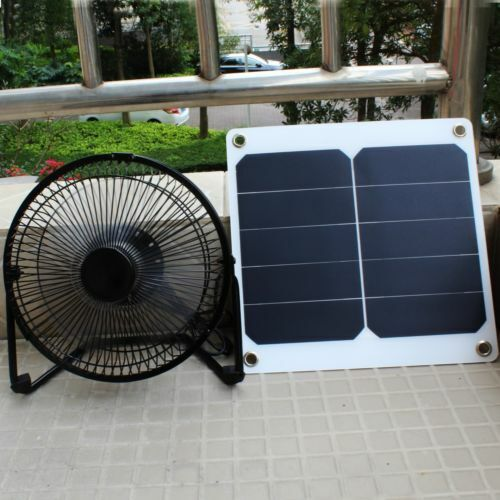 Solar Panel Fan Portable 10W Ventilator for Greenhouse Roof Tree House Camping