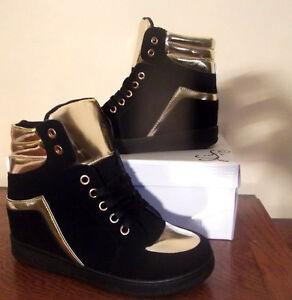 Femme Chaussure Montante Sneakers Homme Bottine Noir Daim Basket Or WYeH9bD2EI