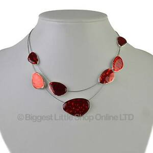 New-Ladies-Rouge-elegant-en-email-deux-tiers-Collier-tendance-ete-classique-joli