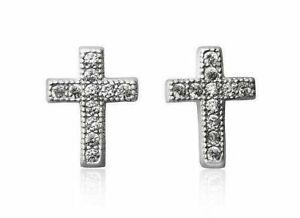 Genuine Diamond Cross Stud Earrings in Solid Sterling Silver w/ Gift box