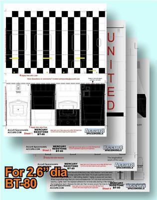 "Mercury Redstone Accur8 /""Skin Kit/"" for BT-80 Boyce Aerospace Scale Model Rocket"