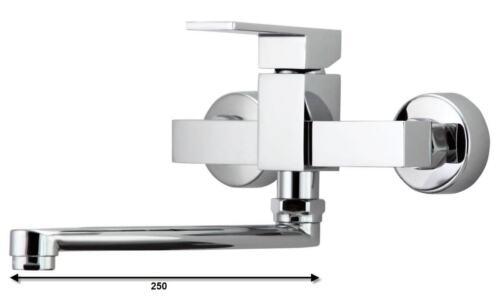 Küchenarmatur mit schwenkbarem Auslauf Wand Montage Spüle Einhebelmischer Chrom
