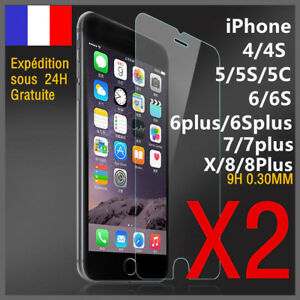 lot-2-vitre-protection-verre-trempe-film-protecteur-ecran-iPhone-7-8Plus-6S-5S-X