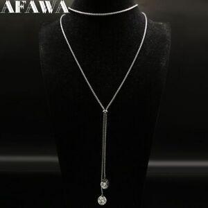 Lange-Halskette-Choker-Damen-Y-Kette-Versilbert-Collier-Modeschmuck-Verstellbar