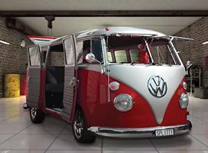 1 Mur Rouge Volkswagen Campervan Mural 3.15 X 2.32 M, Bois, 1 X 315 X 232 Cm-afficher Le Titre D'origine